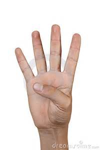 Hand Showing Four Fingers