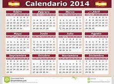 Horizontal Spanish Calendar 2014 Stock Vector Image