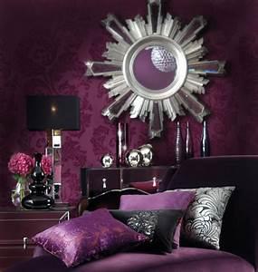 Black and Purple Bedroom Wallpaper