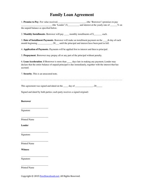 family agreement form download family loan agreement template pdf rtf word
