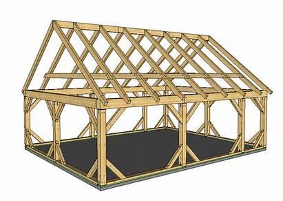 Frame Timber Beam Plans Barn Garage 24x30