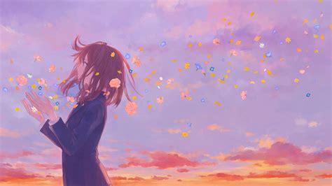 8k Anime Wallpaper - anime school flowers clouds 8k hd anime 4k