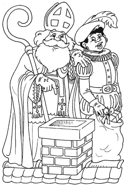 Kleurplaat Sinterklaas Op Het Dak by Kleurplaten Sinterklaas