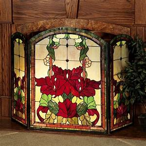 Yvette, Decorative, Floral, Stained, Glass, Fireplace, Screen