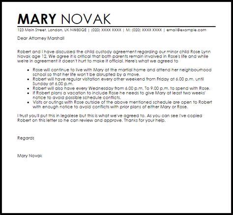 child custody agreement letter  letter samples