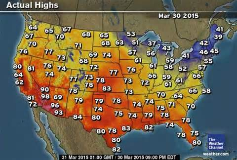 USA Today Weather Map Temperature