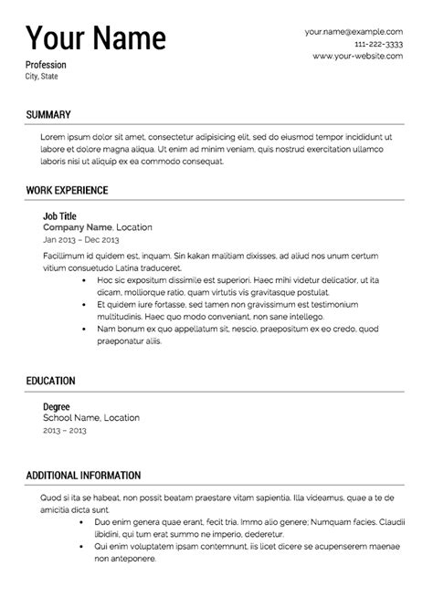 Exle Of A Simple Resume 16 free resume templates excel pdf formats