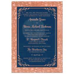 navy and coral wedding invitations navy blue and copper look or gold floral wedding invitation decorative scroll frame