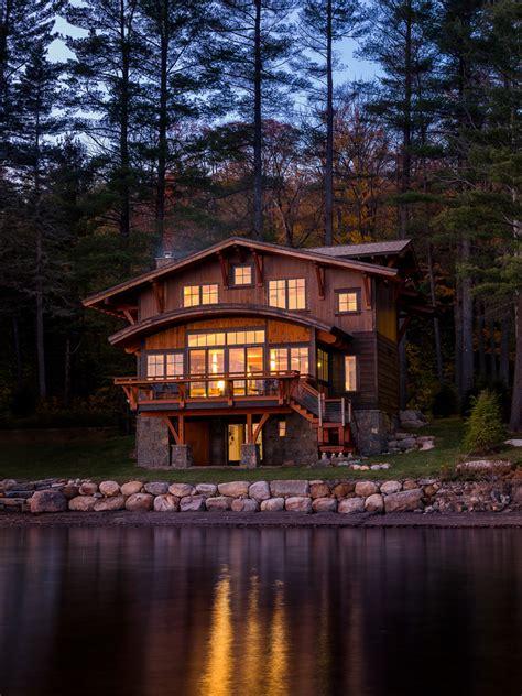 modern lake house rustic exterior boston