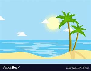 Landscape of beach with sun cartoon Royalty Free Vector
