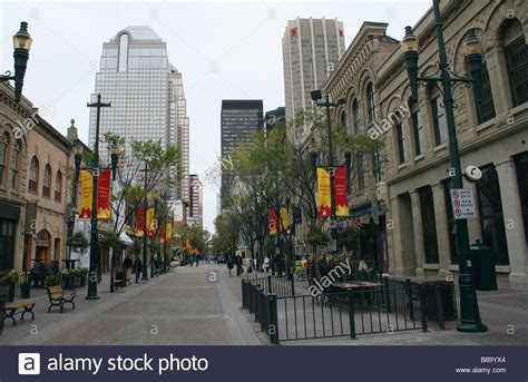 Downtown Pedestrian Shopping Street Stephen Avenue Calgary Alberta Stock Photo