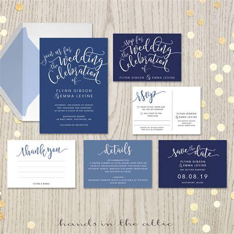 navy blue wedding invitation set printable stationery