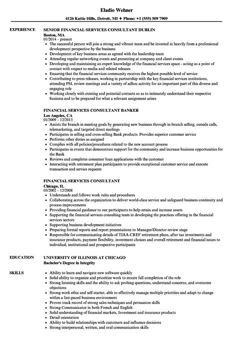 financial services consultant cover letter financial resumes sles finance executive resume