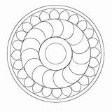 Mandala Coloring Simple Pages Therapy sketch template
