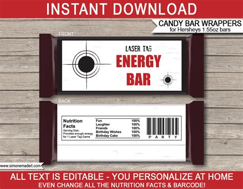 laser tag hershey candy bar wrappers personalized candy bars
