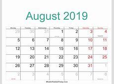August 2019 Calendar With Holidays calendar for 2019