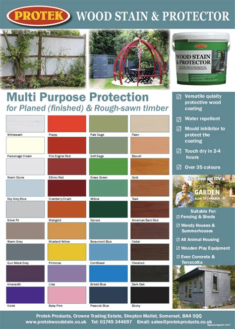 wood stain  protector colour chart protek wood stain
