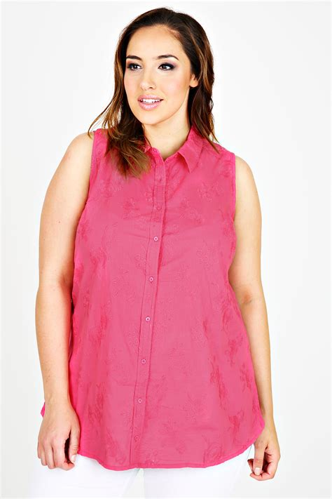 Embroidered Sleeveless Shirt pink floral embroidered sleeveless shirt plus size 16 18