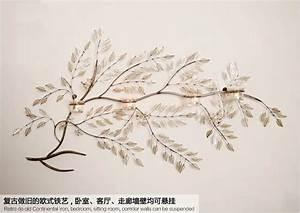 Metal wall art leaves branch : Modern home decoration creative metal wall art handmade