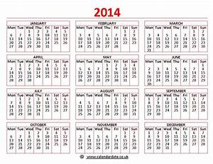 Printable 2014 calendar calendardatecouk for 2014 calendar template uk
