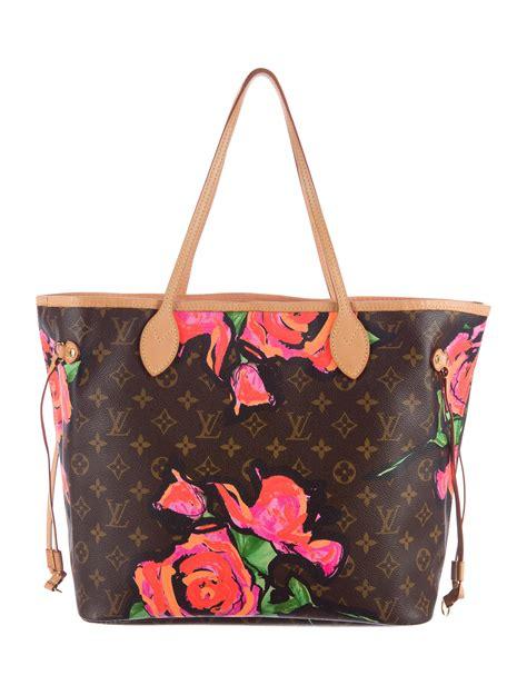 louis vuitton roses neverfull mm handbags lou  realreal