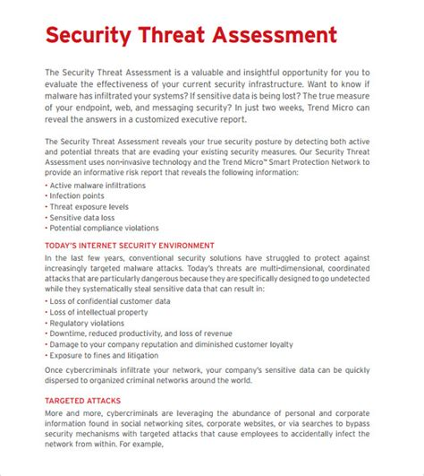 threat assessment template 10 sle threat assessments sle templates