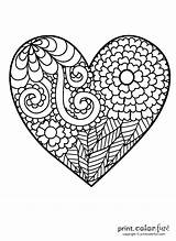 Coloring Heart Pages Flowery Printable Fun Simple Adults Spiral Unicorn Printcolorfun sketch template