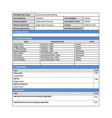 meeting minutes template free 13 project meeting minutes templates to sle templates