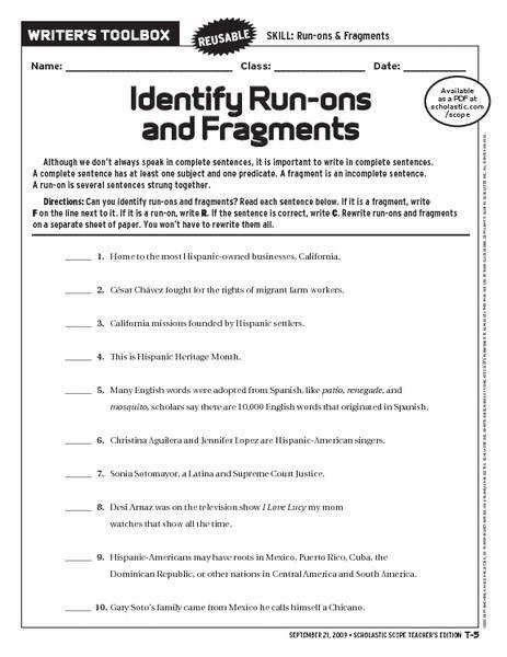 Run On Sentences Worksheet Homeschooldressagecom