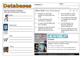 database worksheet defining and creating by clickschool teaching resources