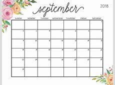Get Free September & October 2018 Blank Calendar Templates