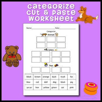 categorize classify cut and paste worksheet by leticia
