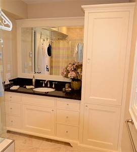 Maple vanity with linen tower