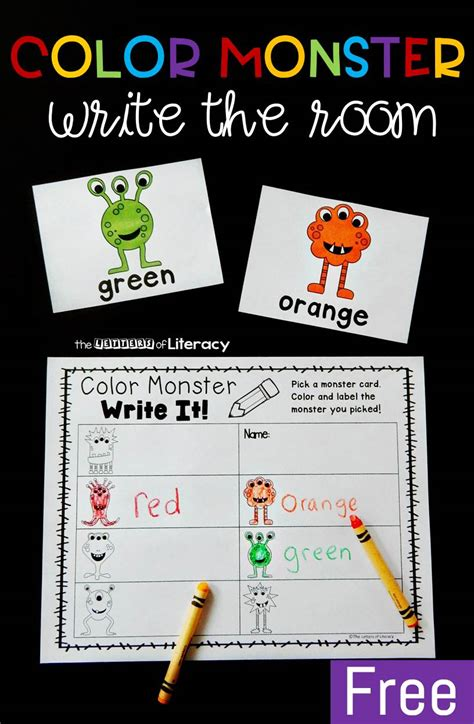 write in color color words write the room printable literacy center