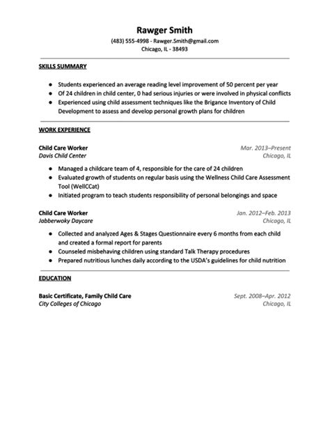 Day Care Worker Responsibilities Resume resume for child care sles of resumes