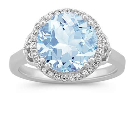 aquamarine  diamond halo ring  sterling silver