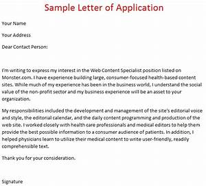 format of a covering letter for a job application - job application letter example sample letter of application