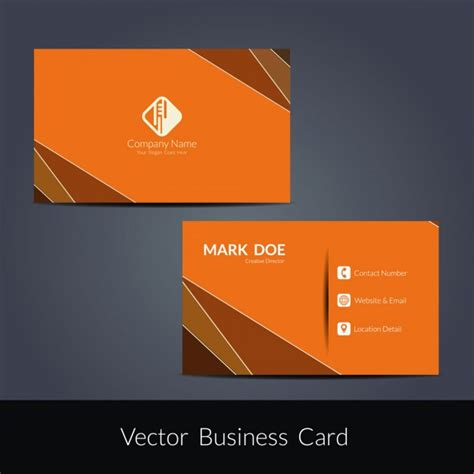 orange modern business card template vector