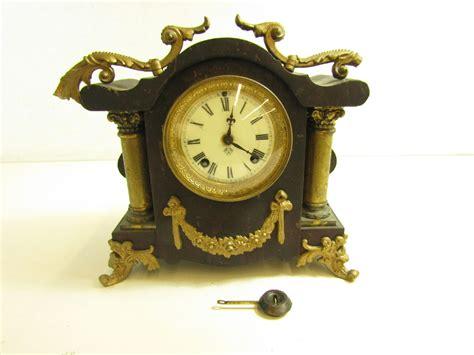 Antique Black Iron Mantel Clock Ansonia Clock Co. N.y