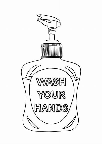 Wash Hands Colouring Soap Drawing
