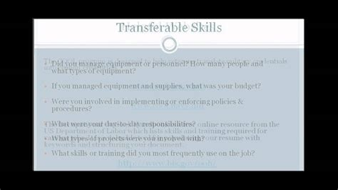 Transfer Skills Civilian Resume by To Civilian Transition Showing Transferable Skills In Resumes