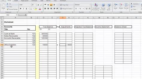 accounting worksheet mp4 youtube