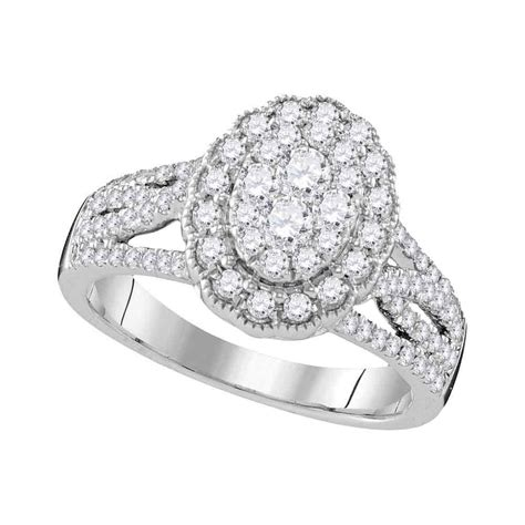 10k white gold diamond oval cluster bridal wedding engagement ring 1 ctw diamond