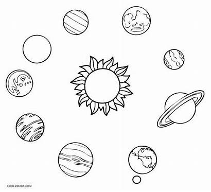 Solar Coloring System Pages Drawing Planets Printable
