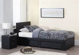buy serene latino black faux leather storage bed 3ft