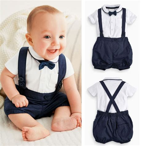 3pcs Toddler Baby Infant Boys Clothes Outfits Bow Tie+T ...