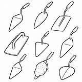 Trowel Concrete Clip Vector Illustrations sketch template