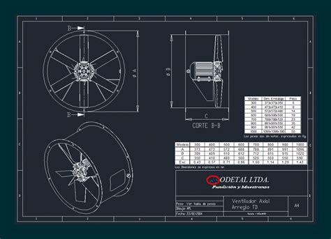 ventilador axial medidas en autocad cad  kb