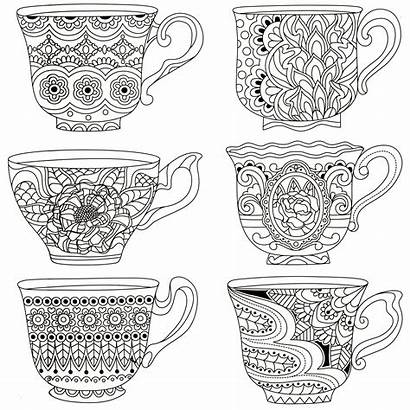 Coloring Tea Cup Pages Cups Adult Stacked