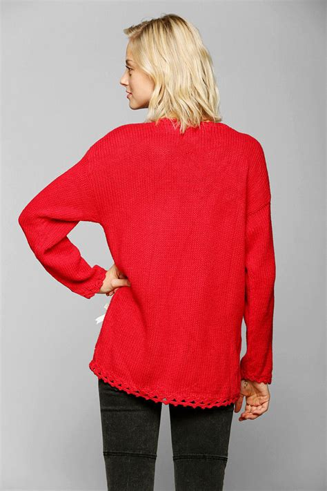 lyst urban outfitters christmas sweater  red